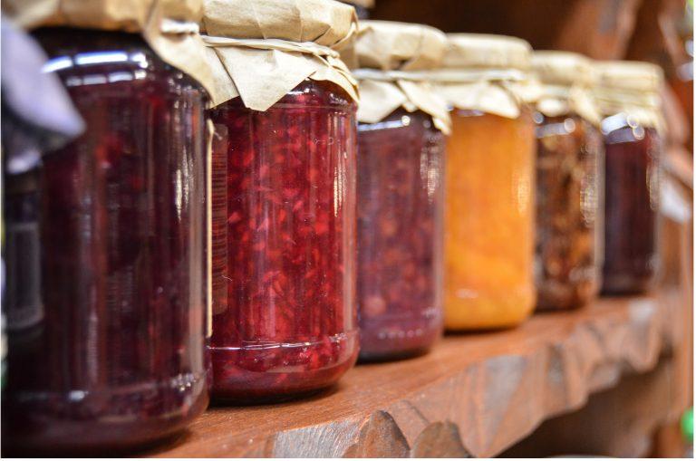 jam jars on shelf